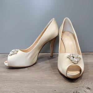 Giuseppe Zanotti Satin Jewel Heels Peep Toe 9.5